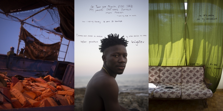 Pozzallo, South Italy, 2 September 2015. In the middle, Yunus, from Nigeria, on the beach of Pozzallo. He was granted protection and now lives in a shared flat with other young refugees. Words are extracted from his written memories.On the left:the inside of a boat resqued in the Mediterranean sea carrying asylum seekers. On the right, a detail of the house where Yunus temporarily lives with other young refugees.