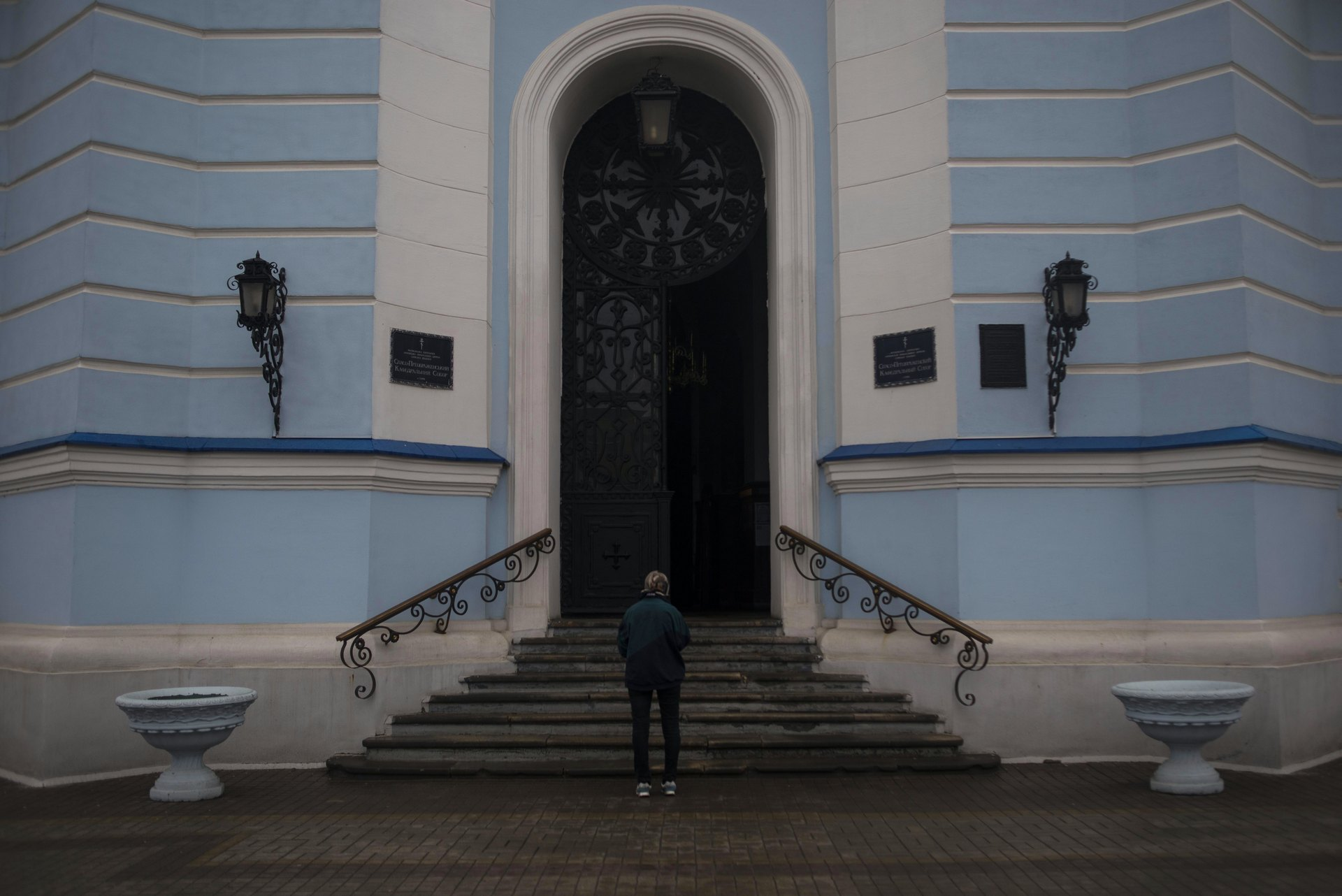 Sumy, East Ukraine, April 2016. Outside the orthodox church of redemption, in the centre of Sumy Old town.